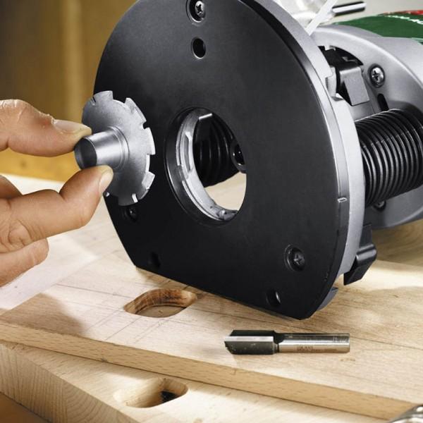 Fresatrice Bosch POF 1400 ACE cambio rapido degli anelli copiatori con il sistema SDS Bosch